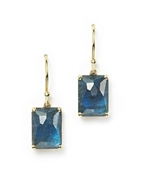 Ippolita 18K Gold Rock Candy Rectangle Drop Earrings In London Blue Topaz And Labradorite Doublet Blue Gold