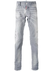 Dsquared2 Distressed Slim Fit Jeans Men Cotton Leather Polyester Spandex Elastane 44 Grey