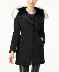 Laundry By Shelli Segal Faux Fur Trim Hooded Parka Black