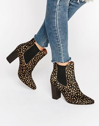 Glamorous Leather Pony Print Heeled Ankle Boots Brown Black Leather