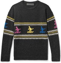 The Elder Statesman Intarsia Cashmere Sweater Charcoal