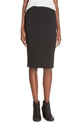 Junior Women's Lily White Rib Knit Pencil Skirt Black