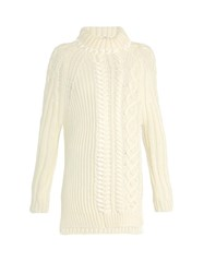 Fendi High Neck Cable Knit Wool Sweater Ivory