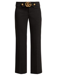Gucci Gg Logo Kick Flare Trousers Black