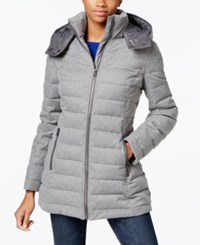 Nautica Hooded Puffer Coat Heather Grey Herringbone