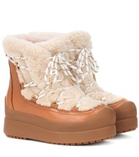 Tory Burch Courtney 60Mm Shearling Ankle Boots Brown