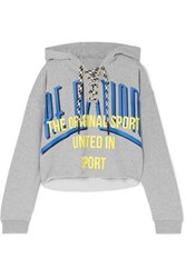 P.E Nation Rocket Shot Cropped Printed Cotton Jersey Hoodie Gray