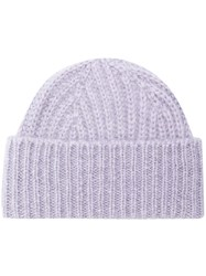 Closed Ribbed Knit Beanie Pink And Purple