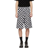 Mcq By Alexander Mcqueen Black And White Racing Check Swallow Low Shorts