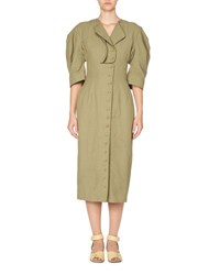 Stella Mccartney Puff Sleeve Button Front Dress Olive