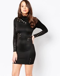 Ax Paris Long Sleeve Bodycon Dress With Cut Out Detail Black