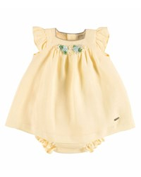 Pili Carrera Sleeveless Floral Trim Linen Dress W Bloomers Yellow