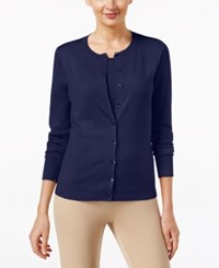 August Silk Long Sleeve Cardigan Newport Navy