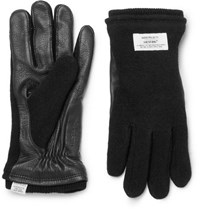 Norse Projects Hestra Leather Panelled Knitted Gloves Black
