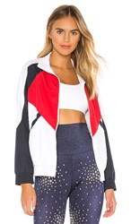 Beach Riot Jacket In White. Red White And Blue