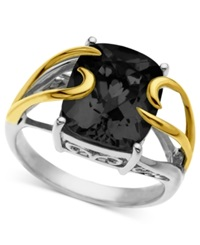 Macy's 14K Gold And Sterling Silver Ring Onyx Overlay