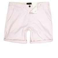 River Island Mens Pink Stripe Slim Fit Casual Shorts