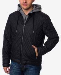 Buffalo David Bitton Men's Layered Look Quilted Bomber Jacket Black
