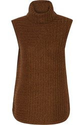 Theory Beylor Knitted Turtleneck Top Brown