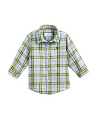 Mayoral Windowpane Checked Button Down Shirt Size 6 36 Months Green