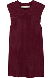 By Malene Birger Darlis Ribbed Linen And Cotton Blend Tunic Burgundy