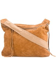 Unused Zipped Shoulder Bag Brown