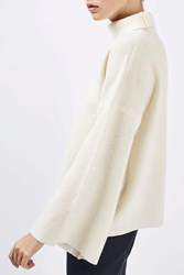 Topshop Boiled Wool Funnel Neck Knit Jumper By Boutique Ivory