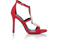 c0e56d73a4768 Stella Luna Embellished Satin Sandals Red