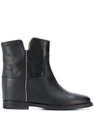 Via Roma 15 Chain Trim Ankle Boots Black