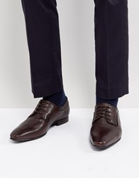Dune Lace Up Derby Shoes In Brown High Shine