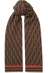 Fendi Printed Cashmere And Wool Blend Scarf Brown