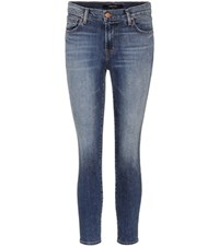 J Brand Cropped Mid Rise Skinny Jeans Blue