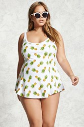 Forever 21 Plus Size Pineapple Swim Dress White Yellow