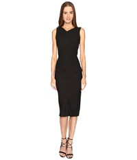 Zac Posen Stretch Cady Sleeveless Tea Length Dress Black Women's Dress