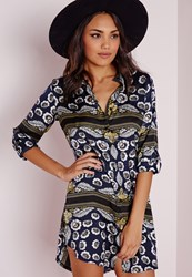 Missguided Collarless Long Sleeve Shirt Dress Navy Scarf Print Blue