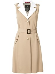 Loveless Sleeveless Trench Coat Brown