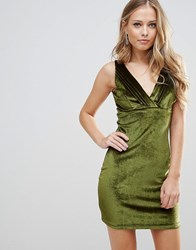 Wyldr Distractions Velvet Mini Dress With Front Pleating Detail Green