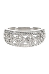 Allora Diamonds Platinaire Floral Shaped White Pave Diamond Anniversary Ring 0.25 Ctw Metallic