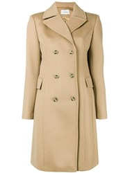 La Mania Double Breasted Coat Nude And Neutrals