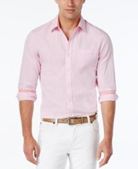 Weatherproof Men's Solid Texture Long Sleeve Shirt Contrast Cuffs Soft Pink