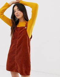 Only Cord Pinafore Mini Dress With Pocket Detail Brown