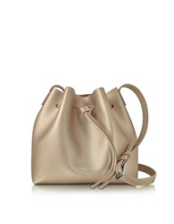 Lancaster Paris Pur And Element Champagne Pink Saffiano Leather Bucket Bag Nude