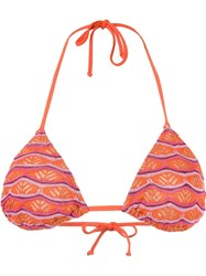 Cecilia Prado Triangle Knit Bikini Top Yellow Orange