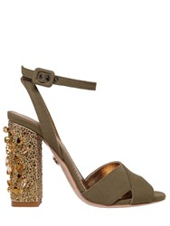 Le Silla 110Mm Cotton Canvas Heels W Crystals