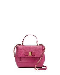 Salvatore Ferragamo Carrie Saffiano Leather Crossbody Sangria Pink Gold