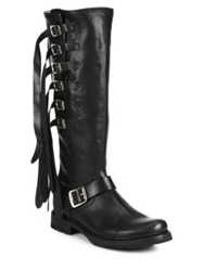 Frye Veronica Strappy Buckled Leather Knee High Boots Black