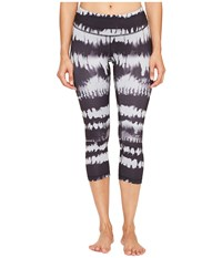 Lucy Studio Hatha Capri Leggings Black Firedance Print Women's Workout Multi