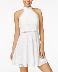 City Studios Juniors' Crochet Halter Dress White
