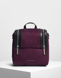 Charles And Keith Zipper Detail Backpack Purple