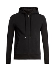Frescobol Carioca Hooded Zip Through Stretch Cotton Sweatshirt Black